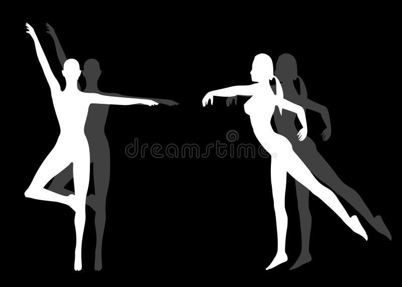 kobiety bezpośrednie jogi sylwetek fitness ilustracji