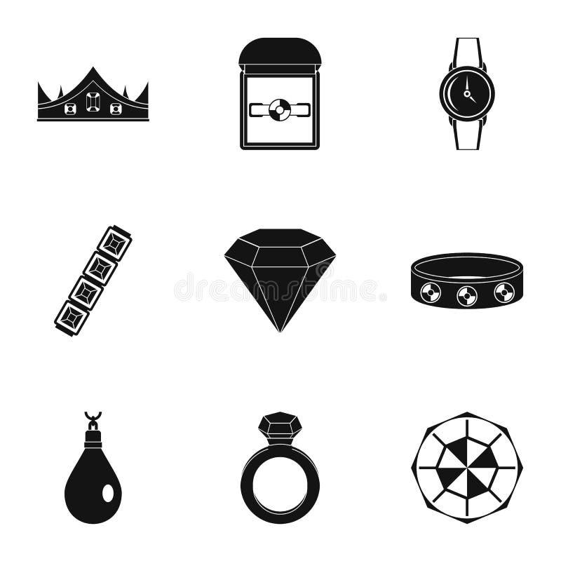 Kobiety biżuterii ikony set, prosty styl ilustracja wektor