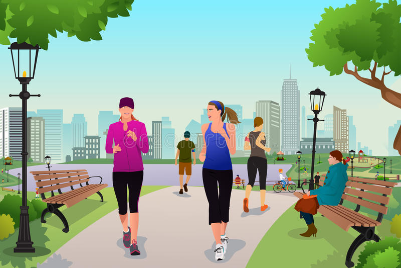 Kobiety biega w parku royalty ilustracja