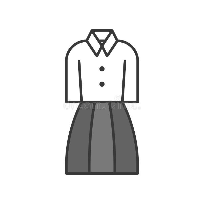 Kobiety biura mundur, wypełniający koloru konturu editable uderzenie ilustracji