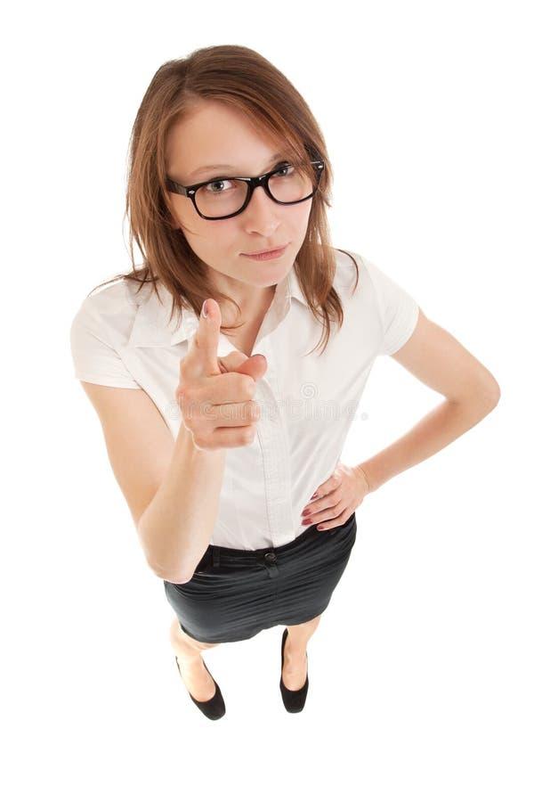 Kobiety biznesowy merdanie jej palec zdjęcie royalty free