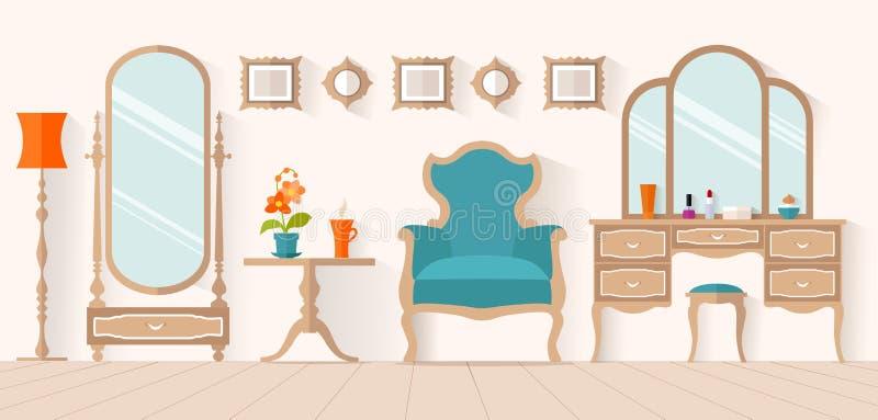 Kobiety boudoir Wewnętrzny projekt, wektorowa przebieralnia ilustracji