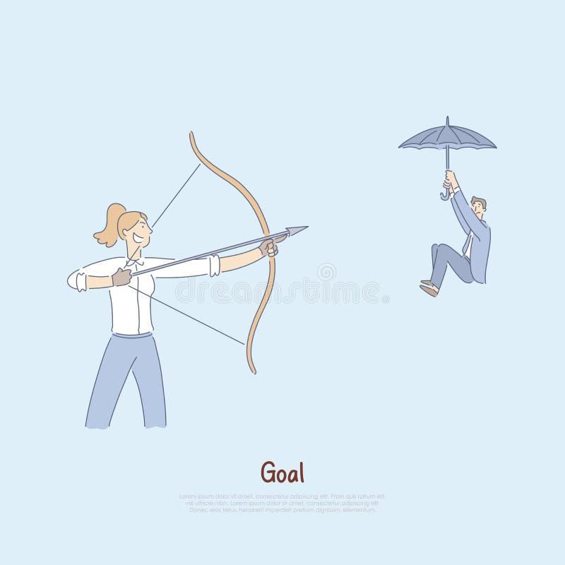 Kobiety celowania łęk z strzałą przy coworker, obsługuje unosić się w dół na parasolu, wrogi konkurencyjnego środowiska sztandar royalty ilustracja
