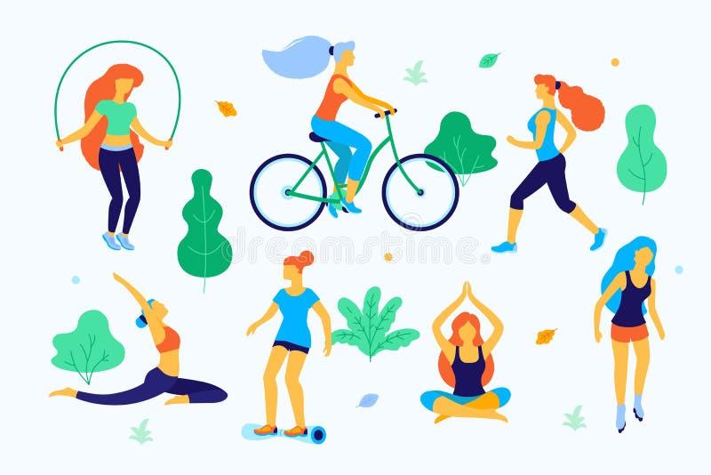 Kobiety chodzi w parkowej płaskiej ilustraci Dziewczyny robi sportom w parku, bieg, łyżwiarstwo, robić joga, skacze royalty ilustracja