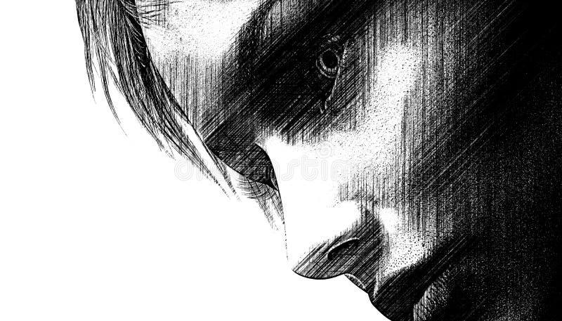 Kobiety ciemny spojrzenie royalty ilustracja