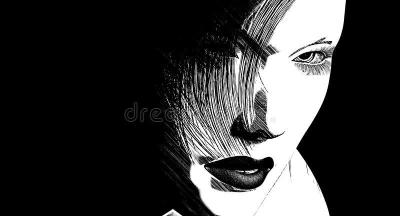 Kobiety ciemny spojrzenie ilustracja wektor