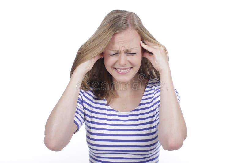 Kobiety cierpienie od migreny zdjęcia royalty free