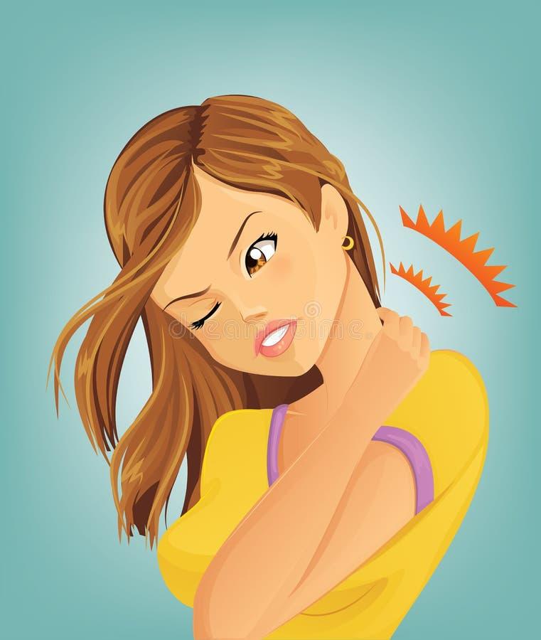 Kobiety cierpienie od neckache ilustracja wektor