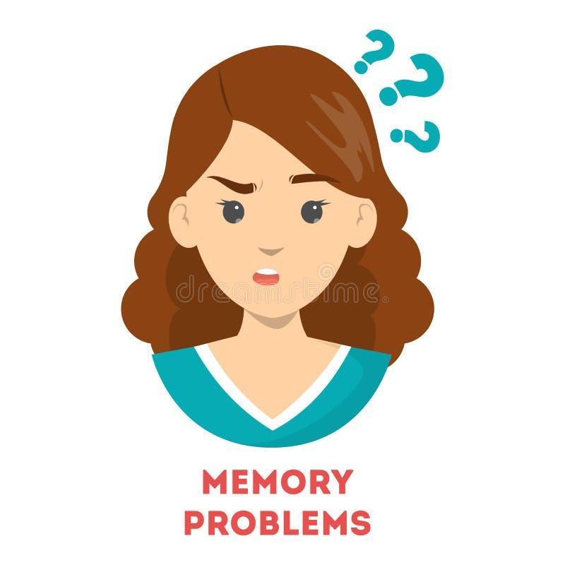 Kobiety cierpienie od pamięć problemów Zmieszana osoba ilustracji