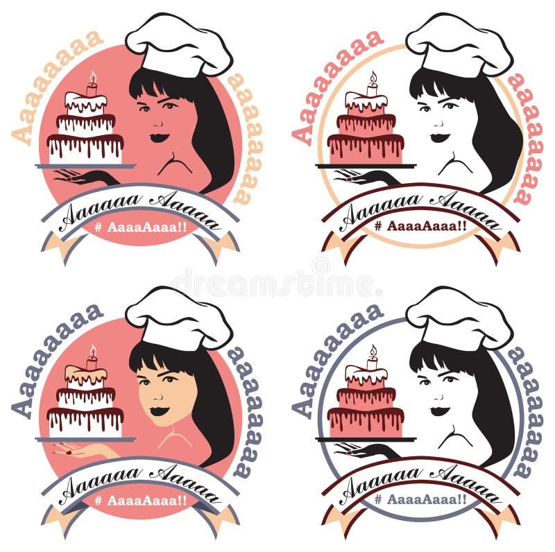 Kobiety cukierniczka z tortem ilustracja wektor