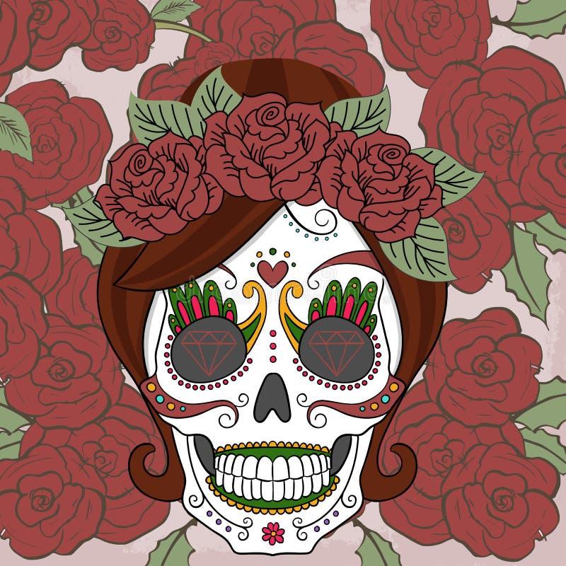 Kobiety cukrowa czaszka z różami ilustracja wektor