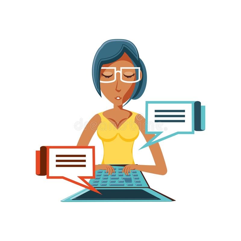 Kobiety czerń z laptopu i mowy bąblami royalty ilustracja