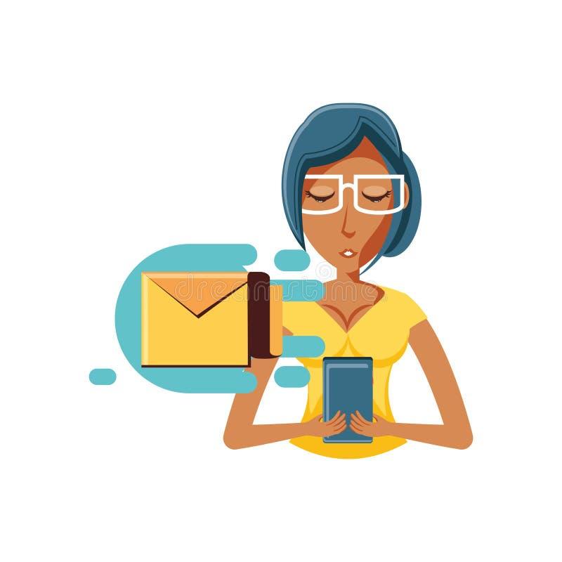 Kobiety czerń z smartphone i koperty pocztą ilustracja wektor