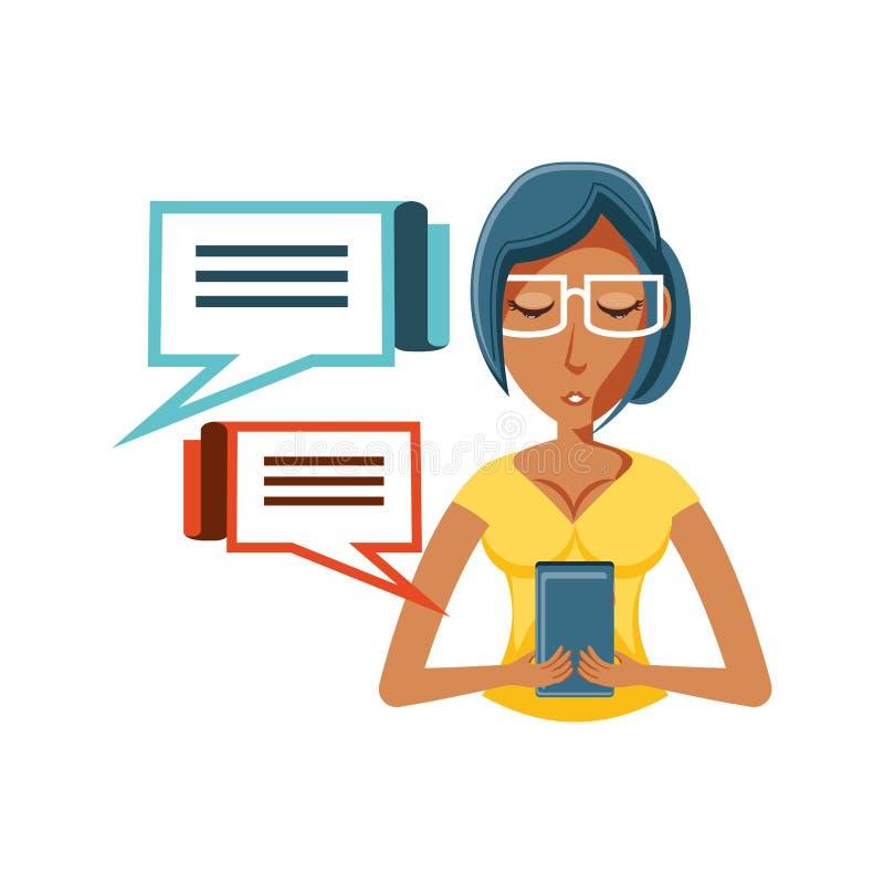Kobiety czerń z smartphone i mowy bąblami ilustracja wektor