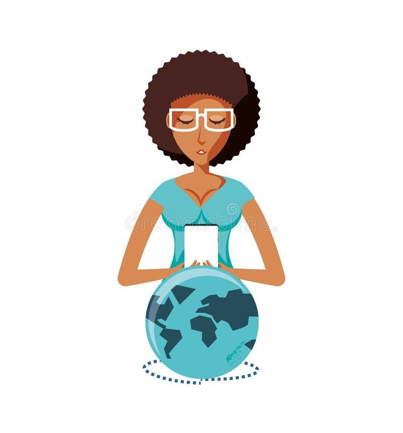 Kobiety czerń z smartphone przyrządem i planety ziemią ilustracji