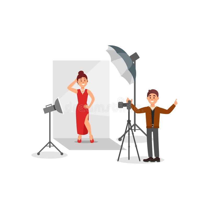 Kobiety czerwieni wzorcowa jest ubranym suknia w fotografii studiu, fotograf podczas strzelaniny, biały tło z światłami i kamera, ilustracja wektor