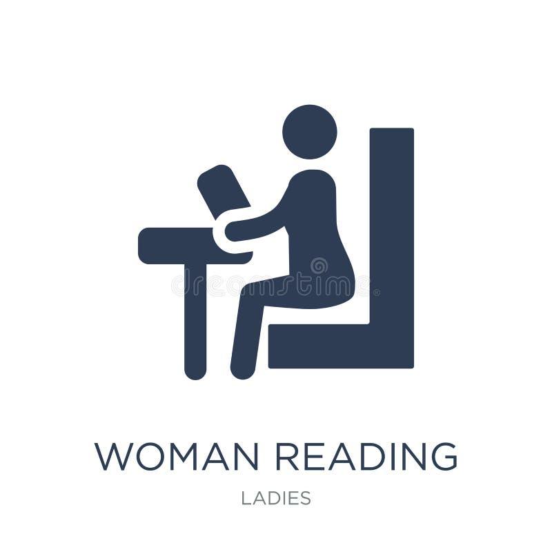 Kobiety Czytelnicza ikona Modnej płaskiej wektorowej kobiety Czytelnicza ikona na whi ilustracja wektor