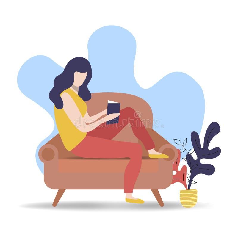 Kobiety czytelnicza książka na relaksującej kanapie w domu royalty ilustracja