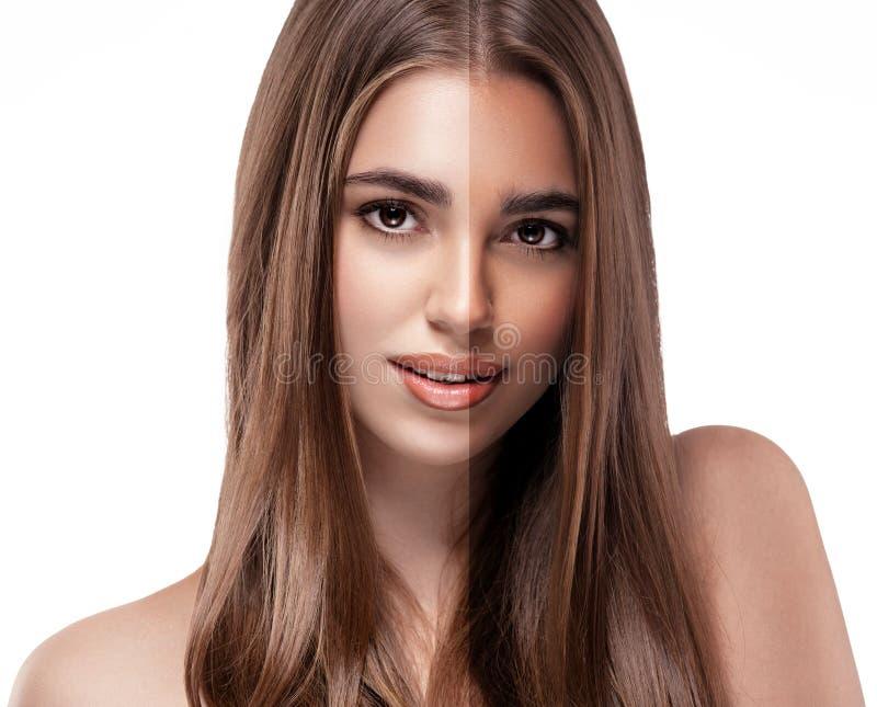 Kobiety dębnej przyrodniej twarzy piękny portret obraz royalty free