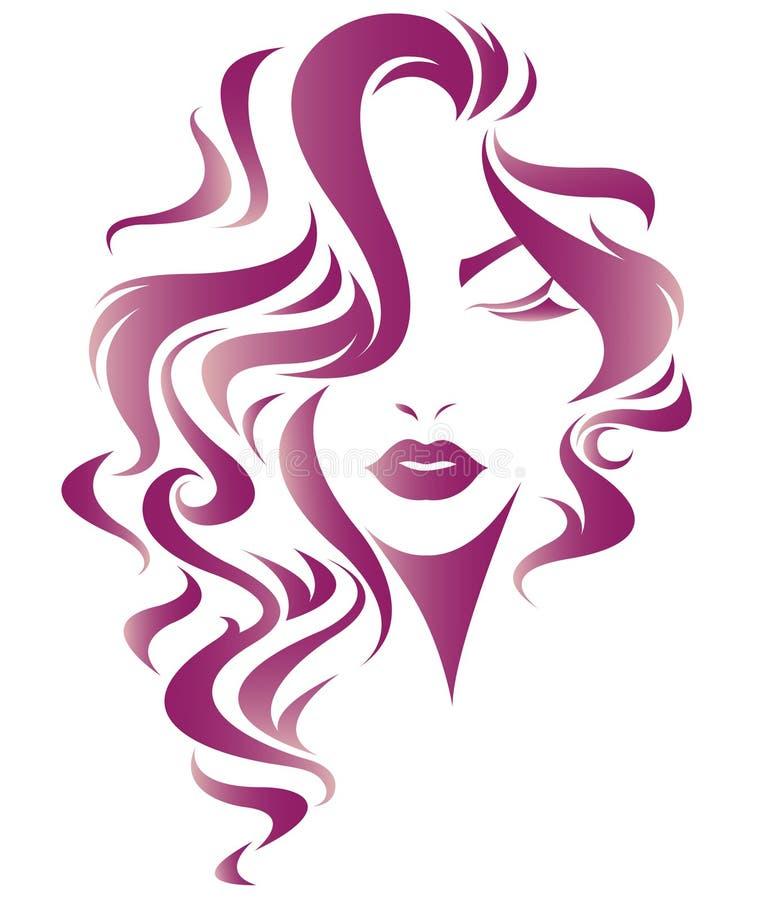 Kobiety długie włosy stylowa ikona, logo kobiety stawiają czoło royalty ilustracja