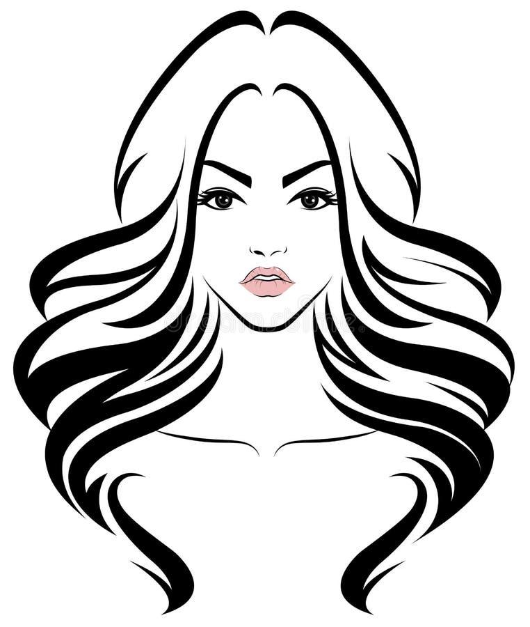 Kobiety długie włosy stylowa ikona, logo kobiety stawiają czoło na białym tle
