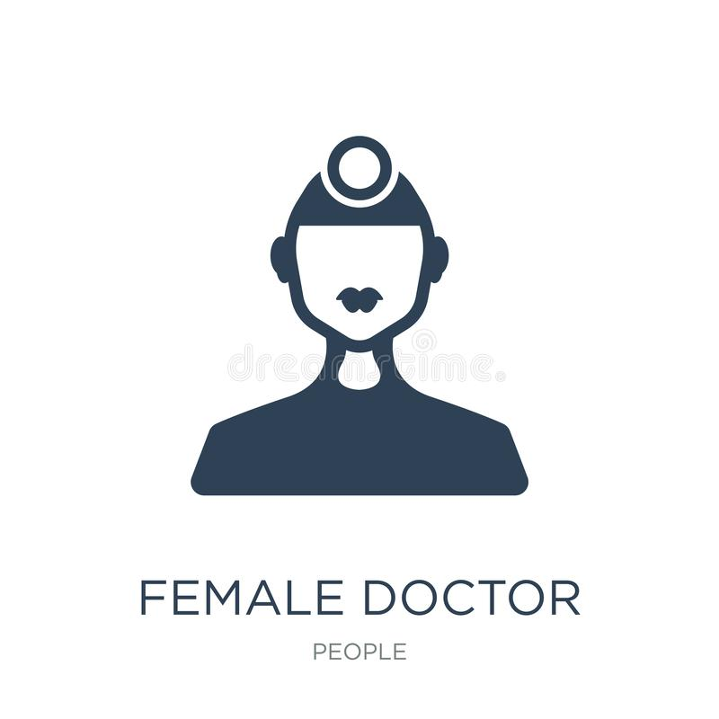 kobiety doktorska ikona w modnym projekta stylu kobiety doktorska ikona odizolowywająca na białym tle kobiety doktorska wektorowa royalty ilustracja