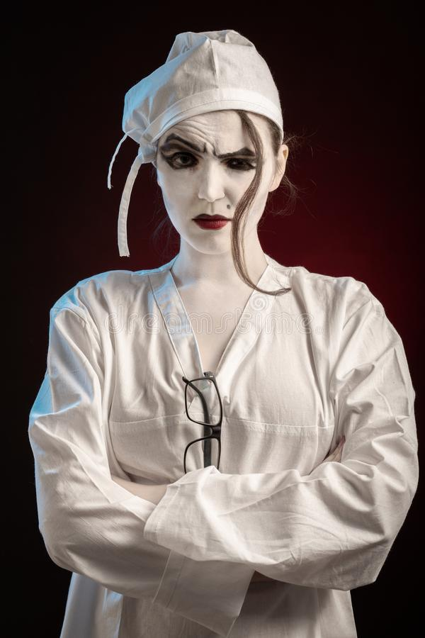 Kobiety doktorska maniaczka zdjęcia stock