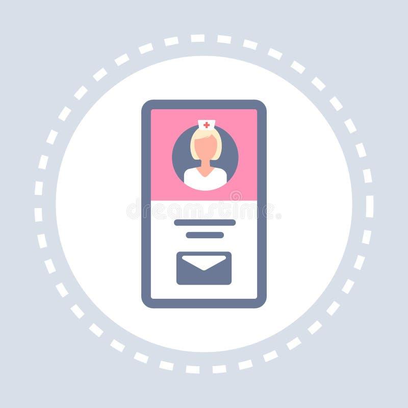 Kobiety doktorskiej online konsultacji smartphone ekranu ikony opieki zdrowotnej usługi zdrowotnej logo mobilna podaniowa medycyn ilustracji