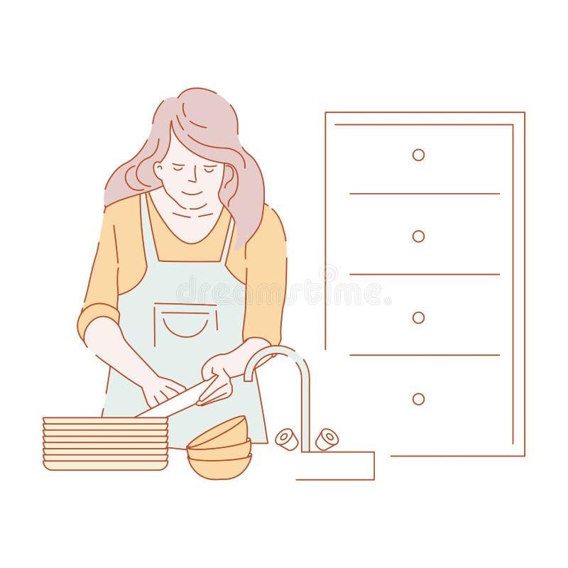 Kobiety domycia naczynia w zlew gospodyni domowej w fartuchu ilustracji