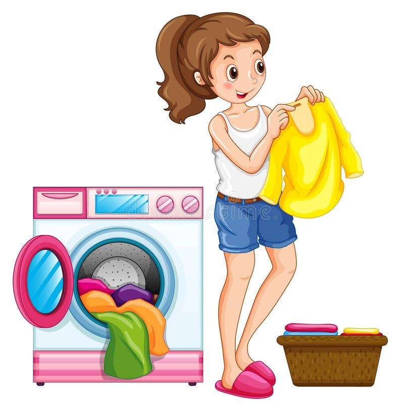 Kobiety domycie odziewa w domu ilustracja wektor