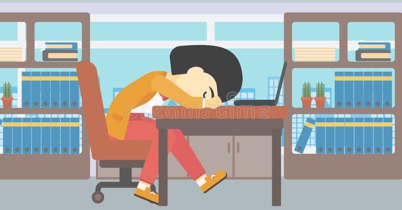 Kobiety dosypianie na miejscu pracy ilustracji