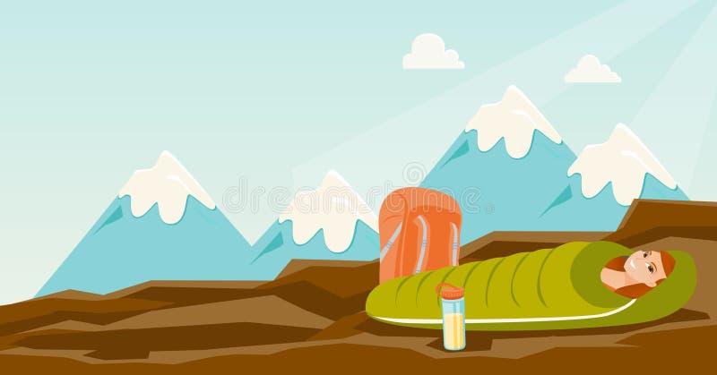 Kobiety dosypianie w sypialnej torbie w górach ilustracji