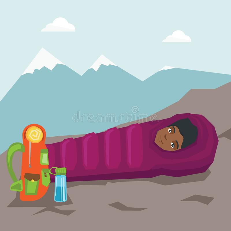 Kobiety dosypianie w sypialnej torbie w górach royalty ilustracja