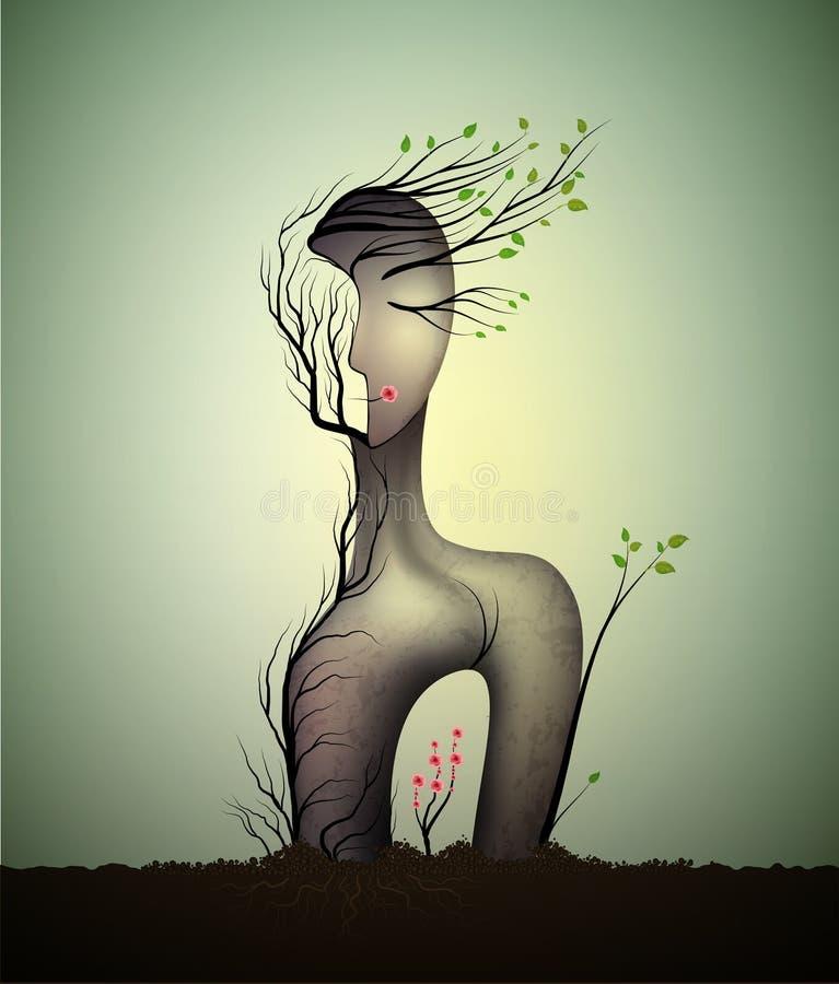 Kobiety dusza, nadrealistyczna kobiety statua, kobieta kształta abstrakcjonistyczny pomysł z czerwieni róży dorośnięciem inside,  ilustracja wektor