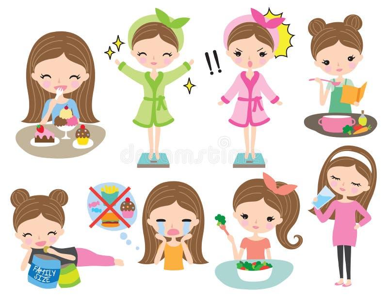 Kobiety dziewczyny ciężaru straty diety Zdrowy set royalty ilustracja