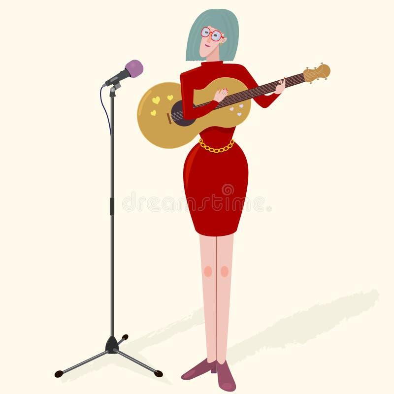 Kobiety dziewczyny czerwieni sukni charakteru muzyk z gitarą i mikrofonem Ładna wektorowa ilustracja royalty ilustracja
