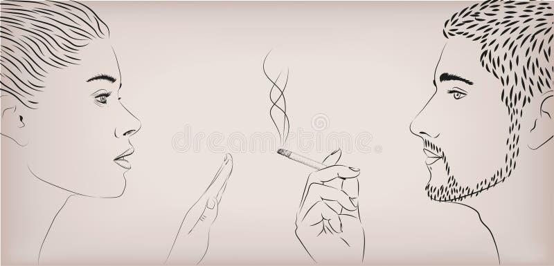 Kobiety dziewczyny damy żeński zakaz zabrania przeciw mężczyzna dymi dymnego papierosowego męskiego twarz w twarz profil Wektorow ilustracja wektor