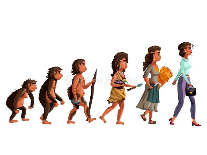 Kobiety ewolucji kresk?wki wektorowa ilustracja ilustracja wektor
