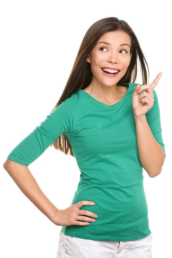 Kobiety główkowanie ma pomysł - przypadkowa kobieta Eureka zdjęcie royalty free