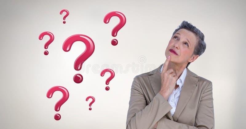 Kobiety główkowanie z błyszczącymi różowymi znakami zapytania ilustracja wektor