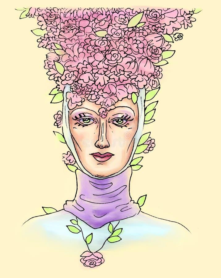 Kobiety głowa w średniowiecznym pióropuszu z spokojnym miłości spojrzeniem i kwiatów płatki na ona kierownicza, piękno w kapelusz ilustracja wektor