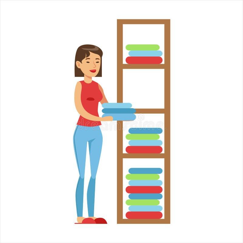 Kobiety gospodyni domowej Rozciągać się Czysty Odziewa Na półkach, Klasyczny gospodarstwo domowe obowiązek dom żony ilustracja ilustracja wektor