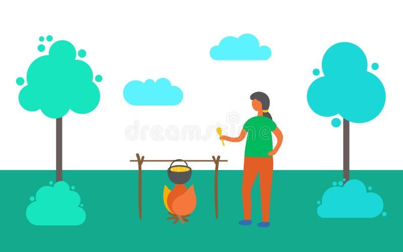Kobiety Gotować Plenerowy, pinkin na naturze w lecie ilustracji