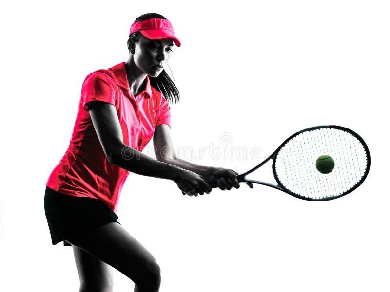 Kobiety gracz w tenisa smucenia sylwetka fotografia royalty free
