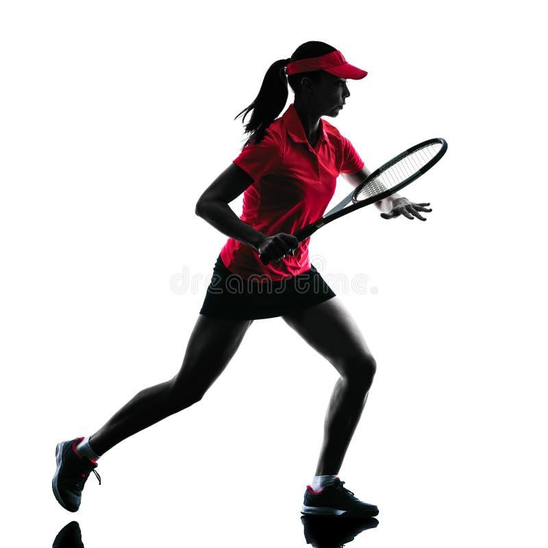 Kobiety gracz w tenisa smucenia sylwetka obrazy stock