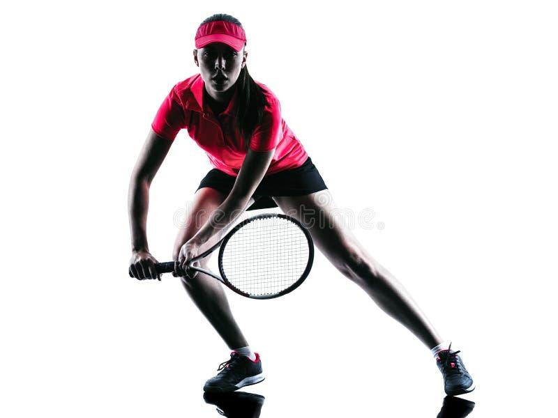 Kobiety gracz w tenisa smucenia sylwetka zdjęcie royalty free