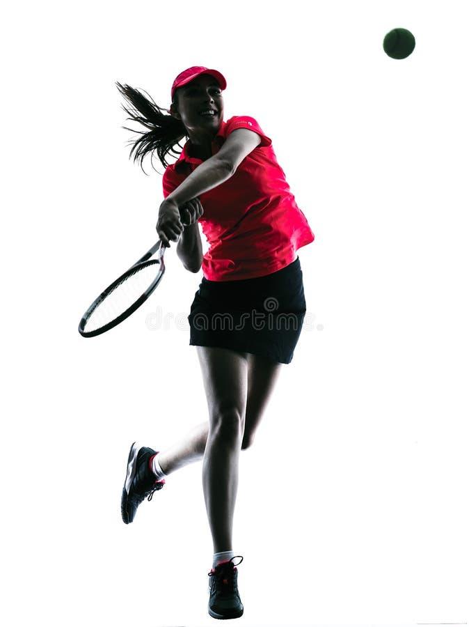 Kobiety gracz w tenisa smucenia sylwetka zdjęcie stock