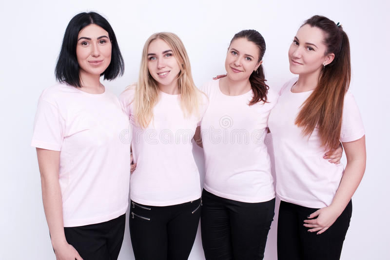 Kobiety grupują w białych koszulkach fotografia stock