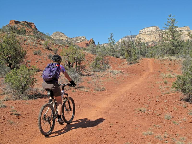 Kobiety halny jechać na rowerze w czerwonych skałach, Sedona, usa zdjęcie royalty free