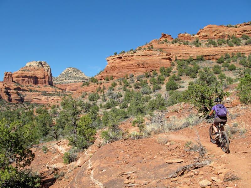 Kobiety halny jechać na rowerze w czerwonych skałach, Sedona, usa zdjęcia royalty free